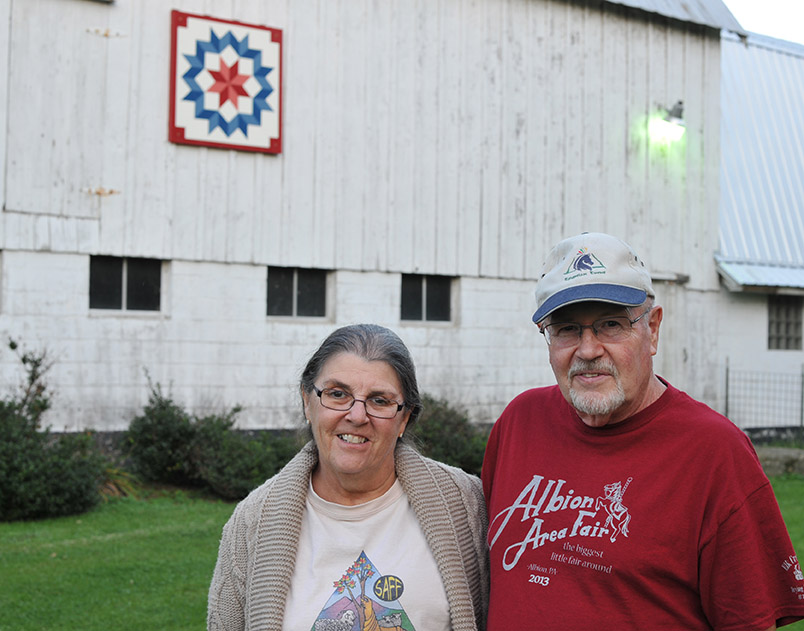 Frank and Pat Bradish with their barn quilt.