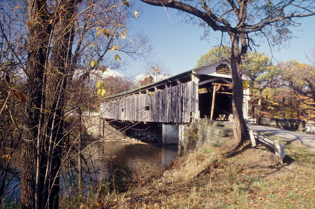 Mechanicsville Road covered bridge, prior to restoration.