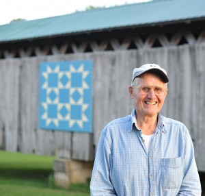"Bob Benson and his family selected the pattern for the barn quilt, called ""Benson's Bridge."""