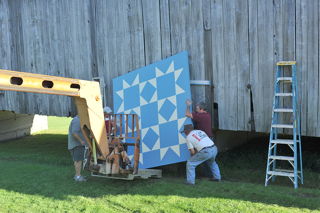 Raising the quilt, Sept. 8, 2014.