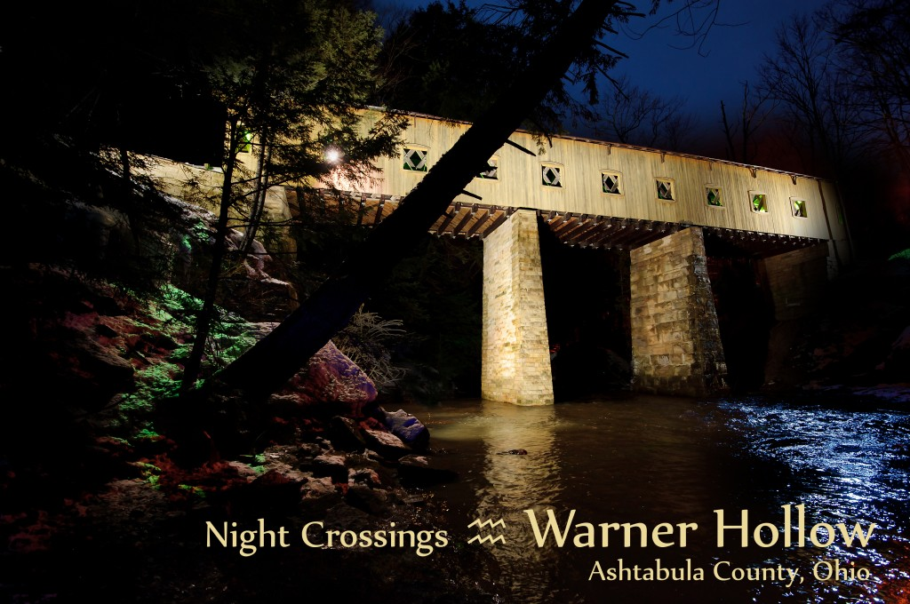 The Warner Hollow bridge at night. Image by Carl E. Feather / Feather Cottage Media.