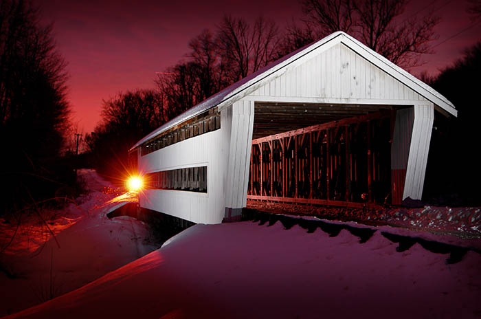 The Giddings Road covered bridge is near the county seat of Jefferson. Photo by Carl E. Feather/Feather Cottage Media.