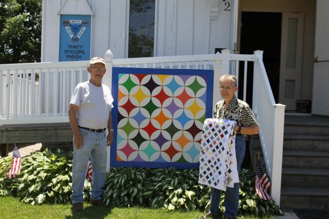 Gary Tabor, barn quilt artist, and Norma Waters, historian of the Jefferson Historical Society, on the day of the quilt dedication, June 18, 2016. Photo courtesy of Chris Angerman, who assisted with the painting.