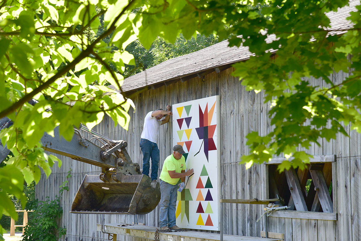 The Barn Quilt Is The Third In Ashtabula County To Be On A Covered . Full resolution  portraiture, nominally Width 1200 Height 801 pixels, portraiture with #44630B.