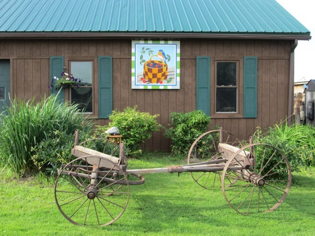 Karla Gadley painted the barn quilt to promote the blueberry farm that she and her husband, Dennis, own.