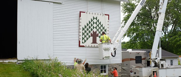 Installation of the barn quilt on the Dubach/Swedenborg barn, June 2016.