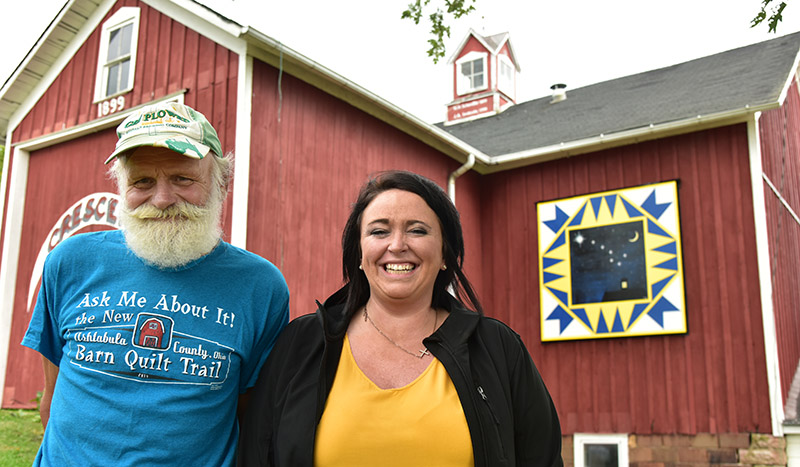 John Svoboda and Heather Kovacic of Austinburg, the quilts' artists.