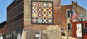 Barn quilt on the side of an East Main street building, downtown Geneva.