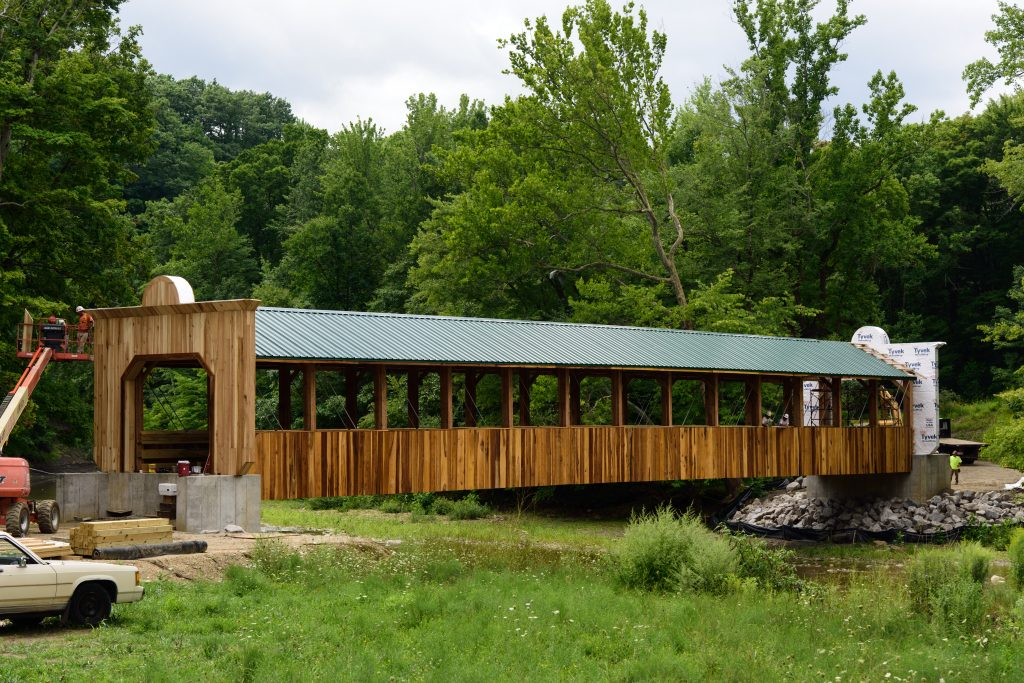 The pedestrian bridge at Indian Trails Park, south end, will connect the Ashtabula and Plymouth townships sides of the park.